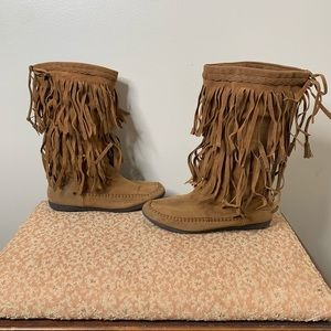 RAMPAGE Cantrell Chestnut Fringed Calf High Boots